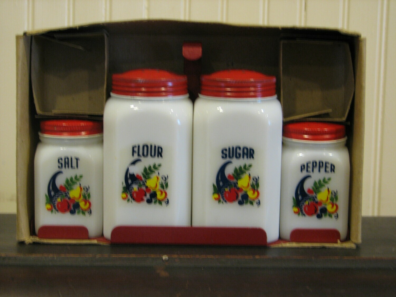 Vintage Milk Glass, Salt, Pepper, Sugar & Flour Shakers w/Red Metal Base NIB