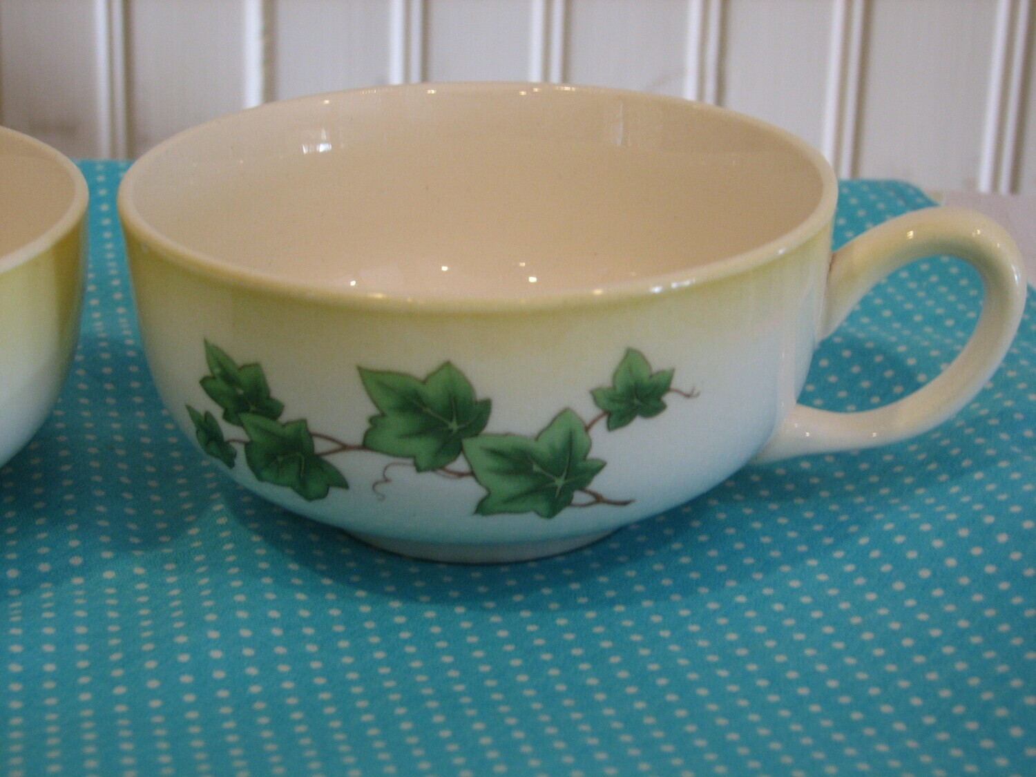 Paden City Pottery Flat Cups, Ivy pattern
