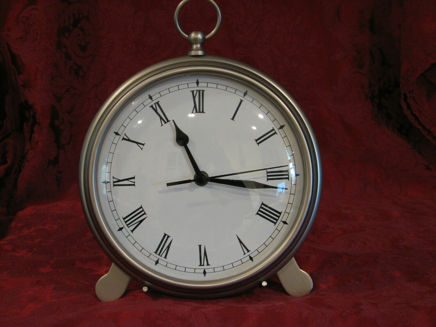 "Pottery Barn Pocket Watch Clock, Pewter, 8"" diameter, 9.5"" high"