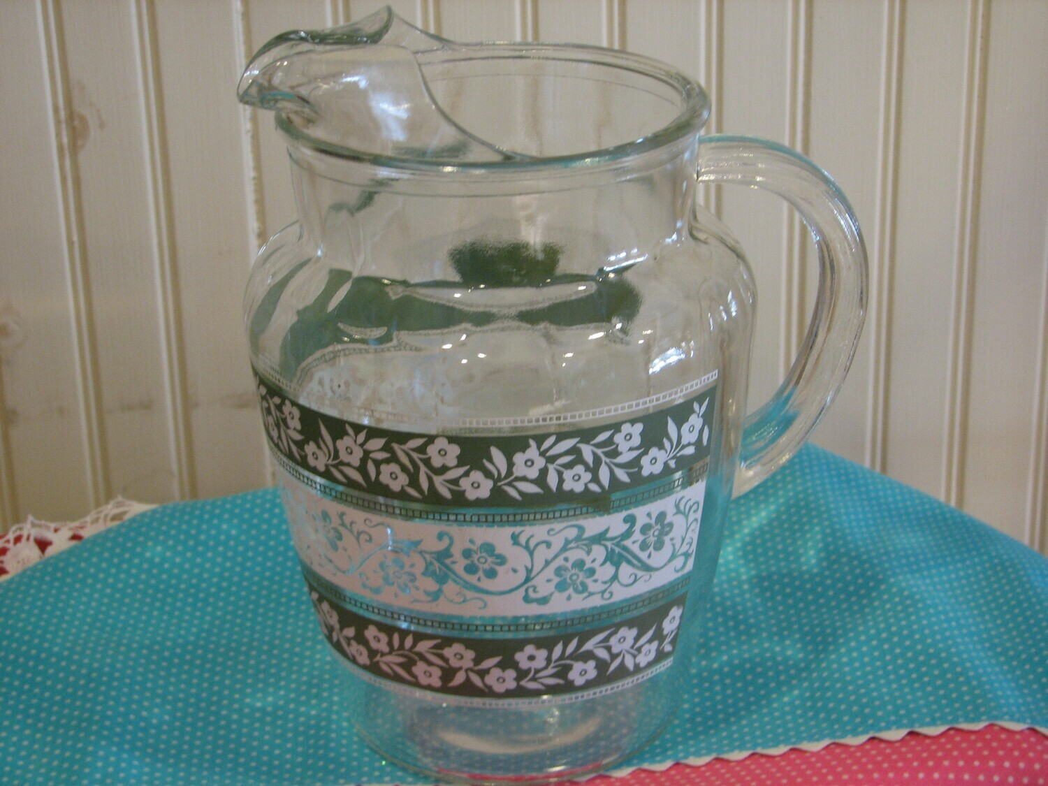 Vintage Glass Water, Tea Pitcher with Bands of Floral Design & Ice Lips