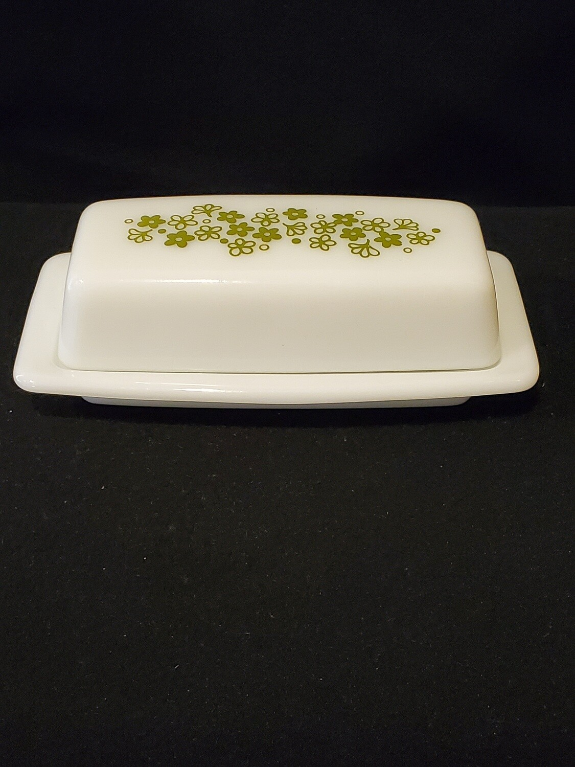 Pyrex Butter Dish with Cover, Green Crazy Daisy Flower Pattern #402