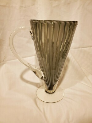 Murano Martini Pitcher, Hand Blown, Grey Striped, Light Smoke Glass