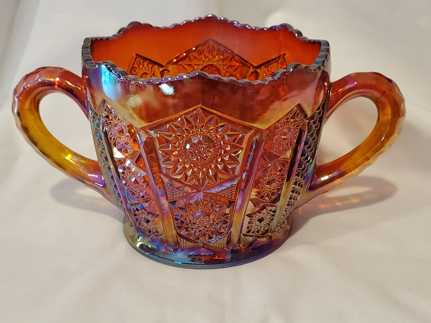 """Indiana Glass, Open Sugar, Heirloom Sunset Carnival, 3 3/4"""" H"""