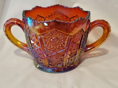 ​Indiana Glass, Open Sugar, Heirloom Sunset Carnival, 3 3/4