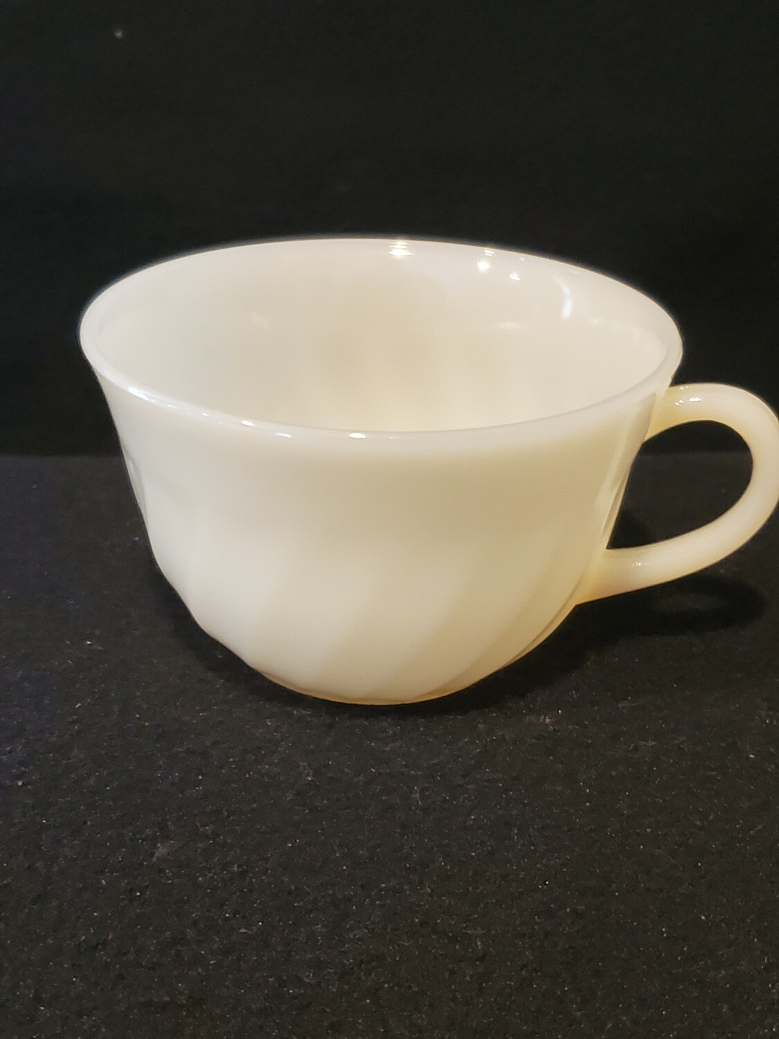 """Fire King by Anchor Hocking Swirl Ivory White Cup 2 3/8"""" H."""