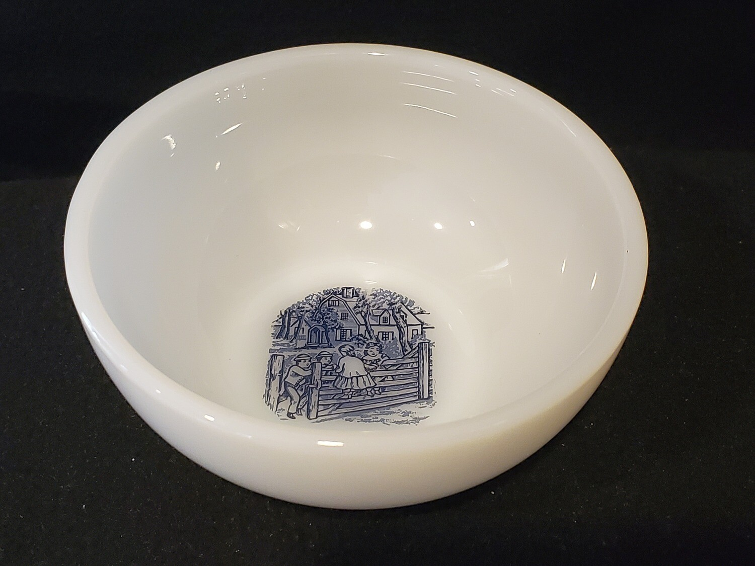 "Ovenware Soup/Cereal Bowl, ""Old Farm Gate"", Currier and Ives by Royal (USA)"