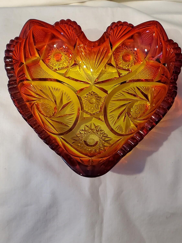 "Fenton, Vintage Heart Shaped, Red Amberina Carnival Glass, 6 1/4"" x 6 1/4"""