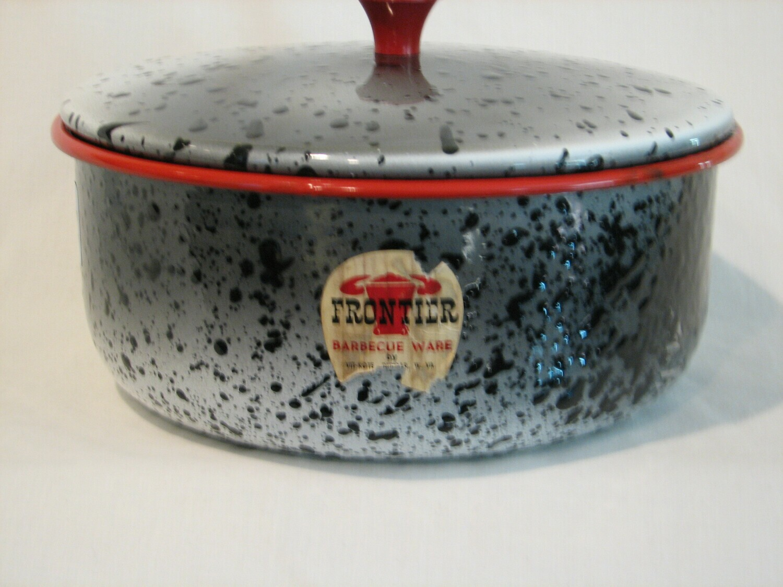 Enamel Ware, Frontier, Speckled Black & Grey Vintage W/Red Rim