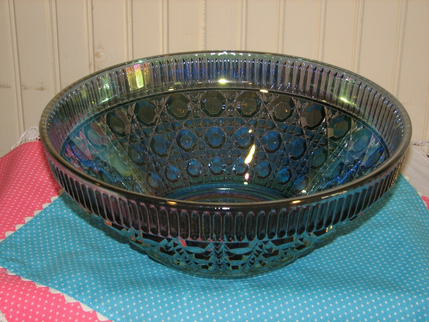 Federal Glass Windsor Iridescent Blue Serving Bowl, 10.5""