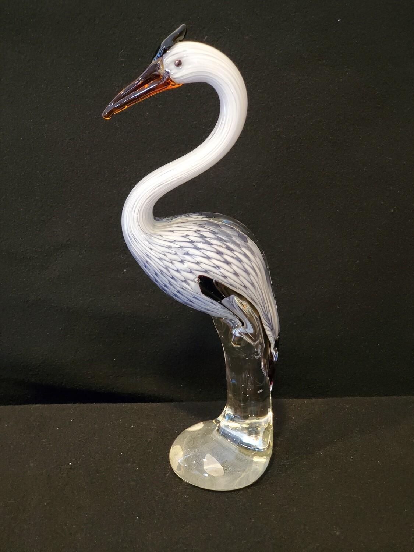 """Glass Heron Egret Statue, Art glass 12.5"""" Tall"""
