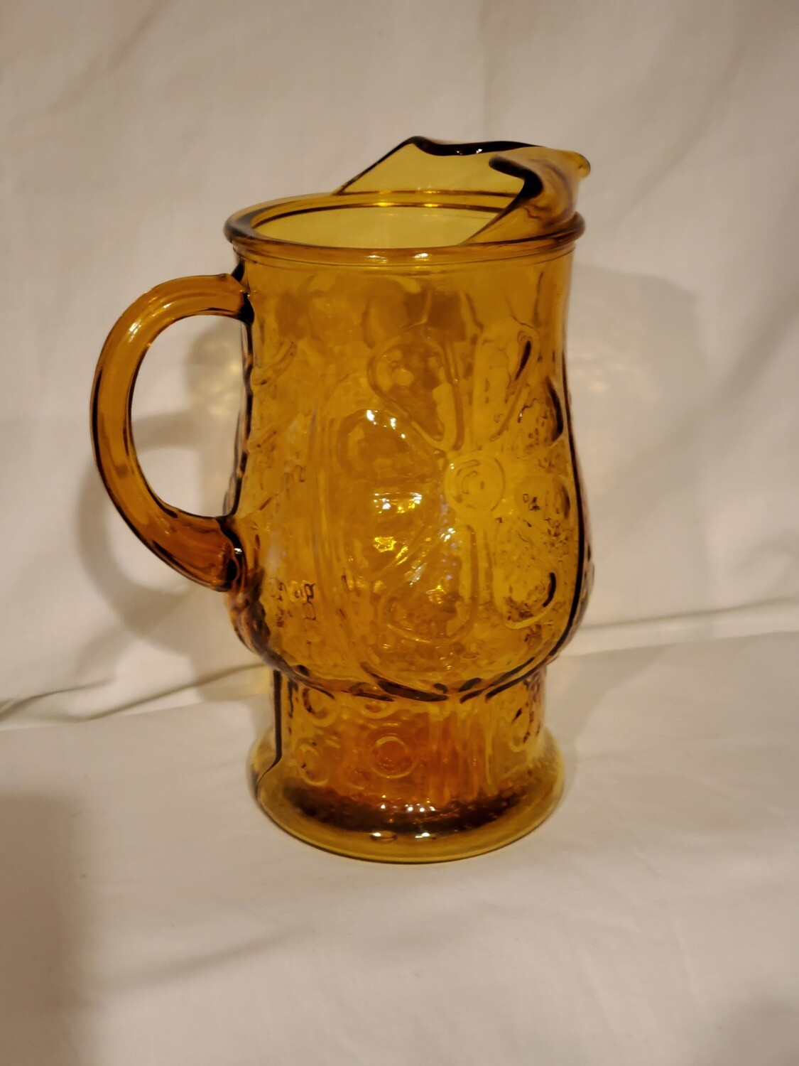 """Libbey Glass Pitcher, Country Garden Amber Embossed Glass. 64 oz., 9 1/8"""""""