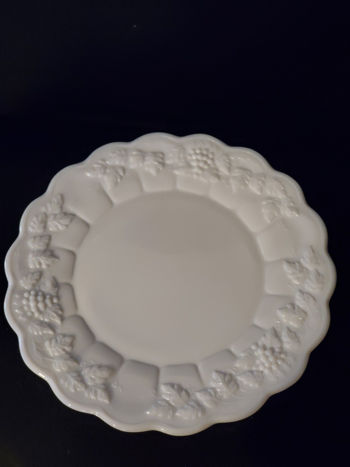 "Westmoreland Dinner Plate, Paneled Grape, 10 1/2"", Milk Glass"
