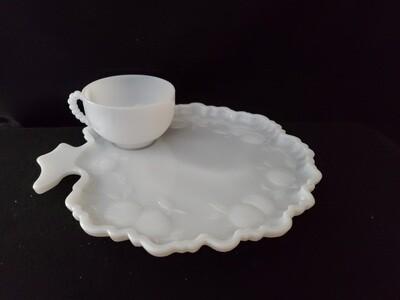 "Vintage Savoy Snack Set, Milk Glass, Apple Tree 10 1/4"" By Orchard"