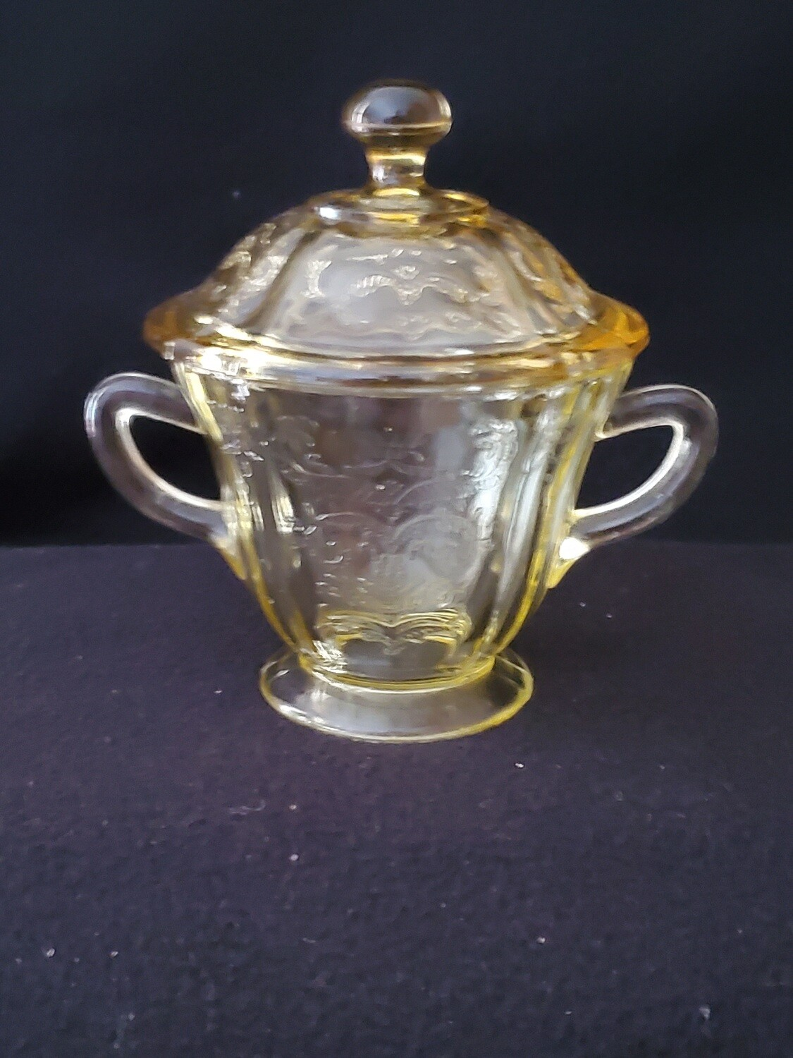 """Vintage Amber Yellow Depression Glass, Sugar With Lid, Madrid Pattern by Federal Glass. 5 1/4"""""""
