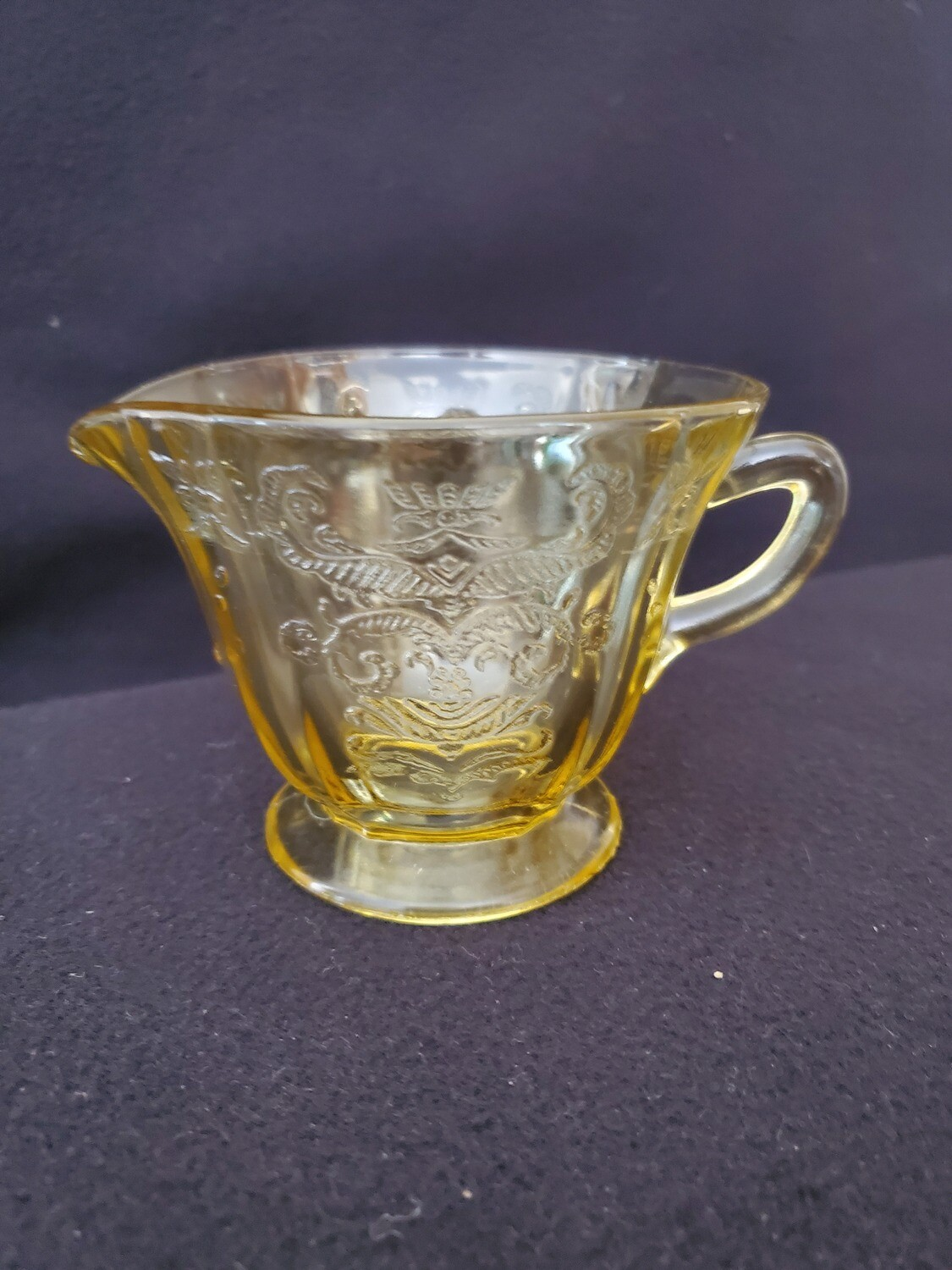 """Vintage Amber Yellow Depression Glass, Creamer, Madrid Pattern by Federal Glass. 3 1/4"""""""