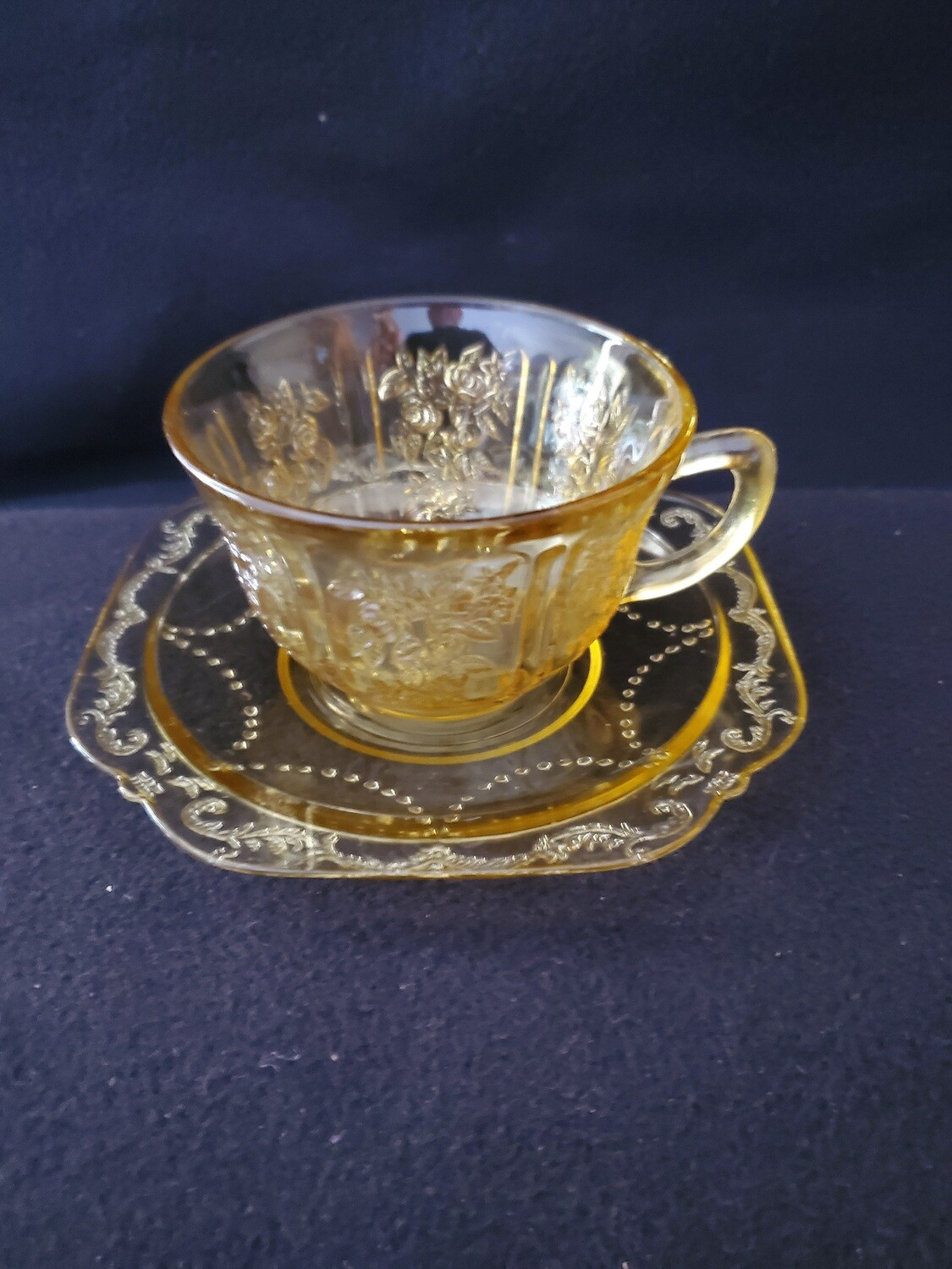"Vintage Amber Yellow Depression Cup & Saucer,  Madrid Pattern by Federal Glass. 2 1/2"" Flat."