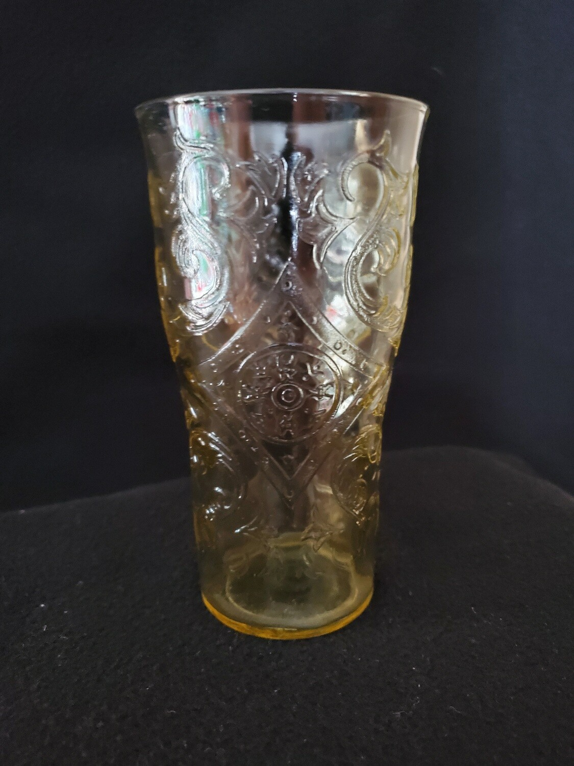 "Vintage, Flat Iced Tea Glass, 5 1/2"" 12 oz., Straight Base, Madrid Amber Depression Glass by Federal Glass."