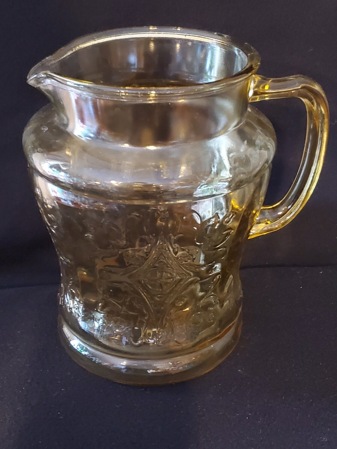 "Vintage, Pitcher 7 1/2"" 80 oz., Madrid Amber Depression Glass by Federal Glass."