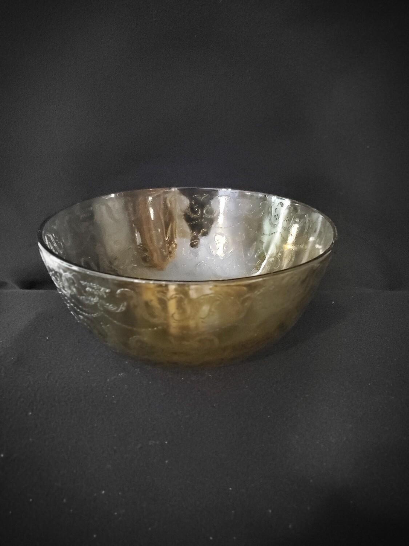 """Vintage, Salad Serving Bowl 9 1/2"""", Madrid Amber Depression Glass by Federal Glass"""