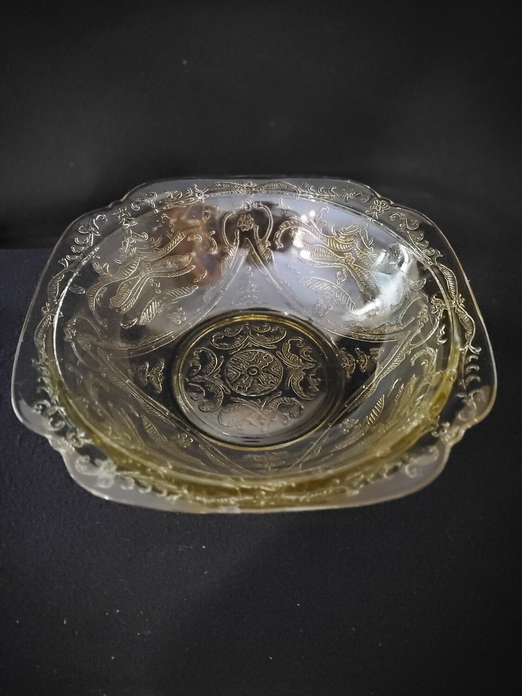 "Vintage, Shallow Salad Serving Bowl 8"", Madrid Amber Depression Glass by Federal Glass"