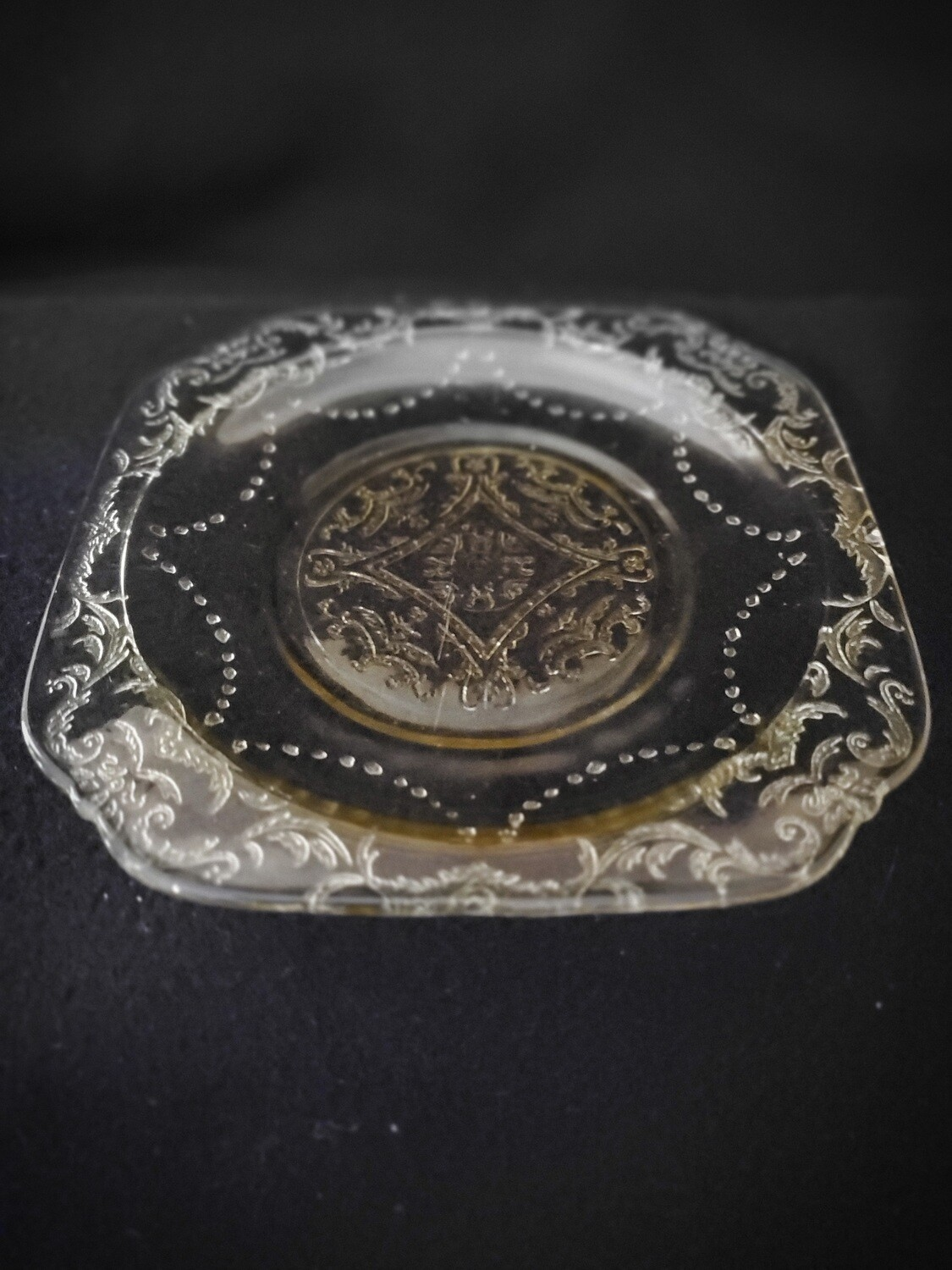 "Vintage, Bread & Butter Plate 6"", Madrid Amber Depression Glass by Federal Glass"