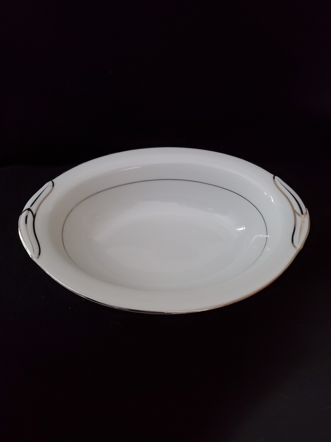 "Noritake China, Oval Vegetable Bowl 10 5/8"" , With Platinum Trim, Pattern 5931 Derry"