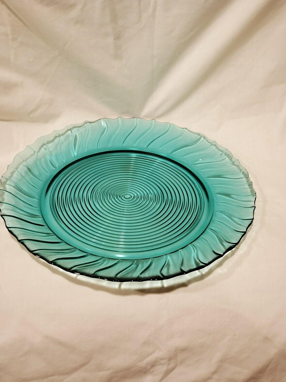 "Swirl Ultramarine (Blue Green) Scalloped Dinner Plate 9 1/8"" by Jeannette"