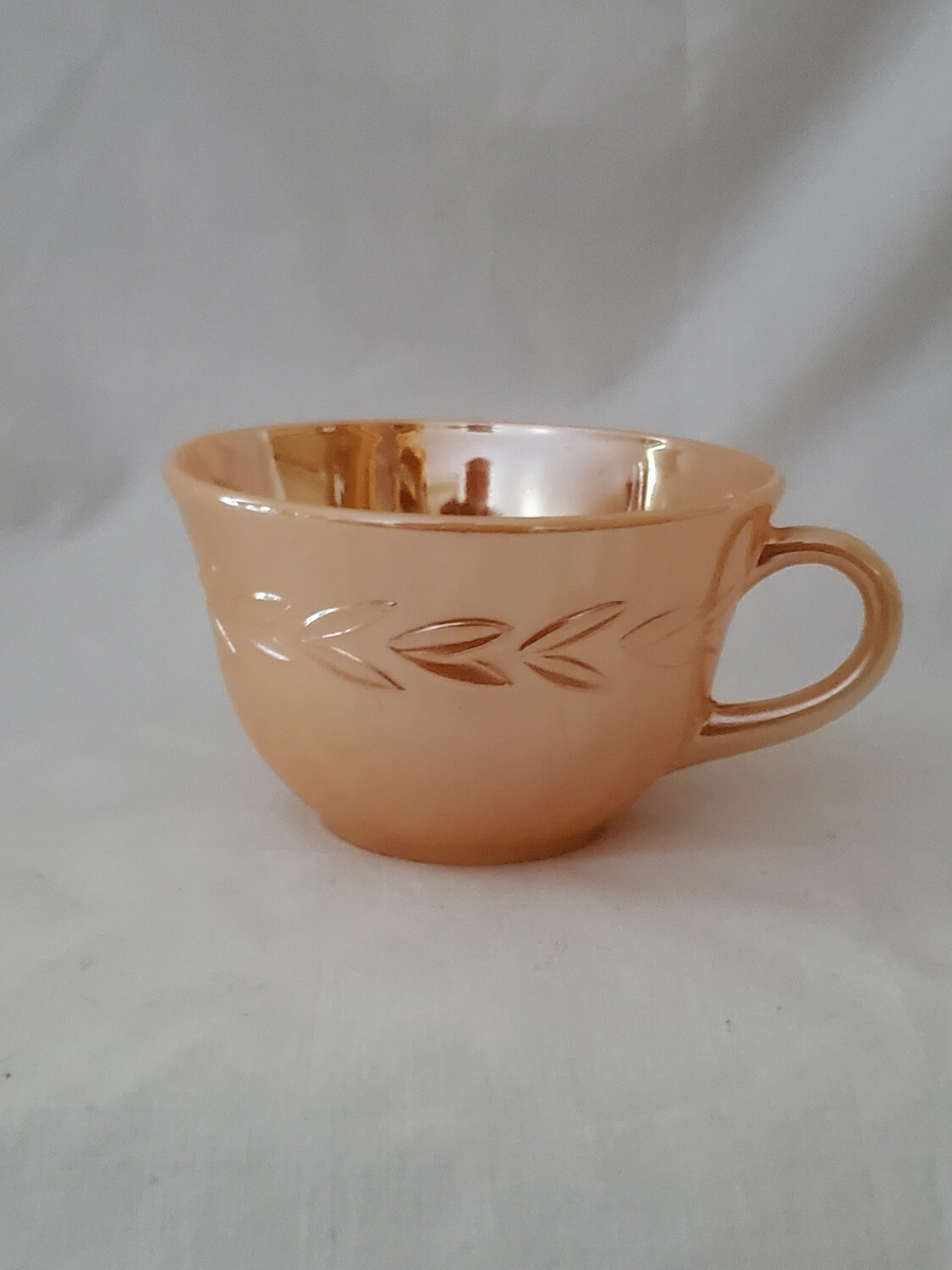 Fire King by Anchor Hocking-Cryst, Peach Lustre Laurel Coffee Cup, 2 3/8""