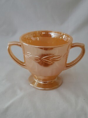 Fire King by Anchor Hocking-Cryst, Peach Lustre Laurel, Footed Open Sugar 3 1/4