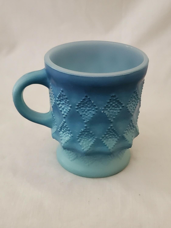 "Anchor Hocking, Fire King Mug, Kimberly Diamond Light Blue and Dark Blue, 3 3/4"""