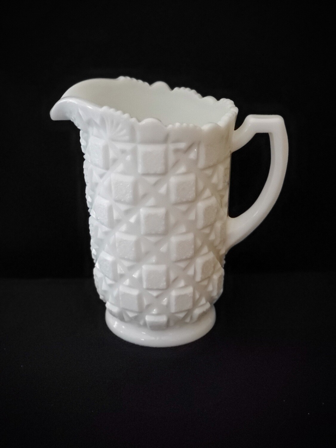 "Vintage WESTMORELAND 40 Oz., Water Pitcher 8"" OLD QUILT White Milk Glass by Westmoreland"