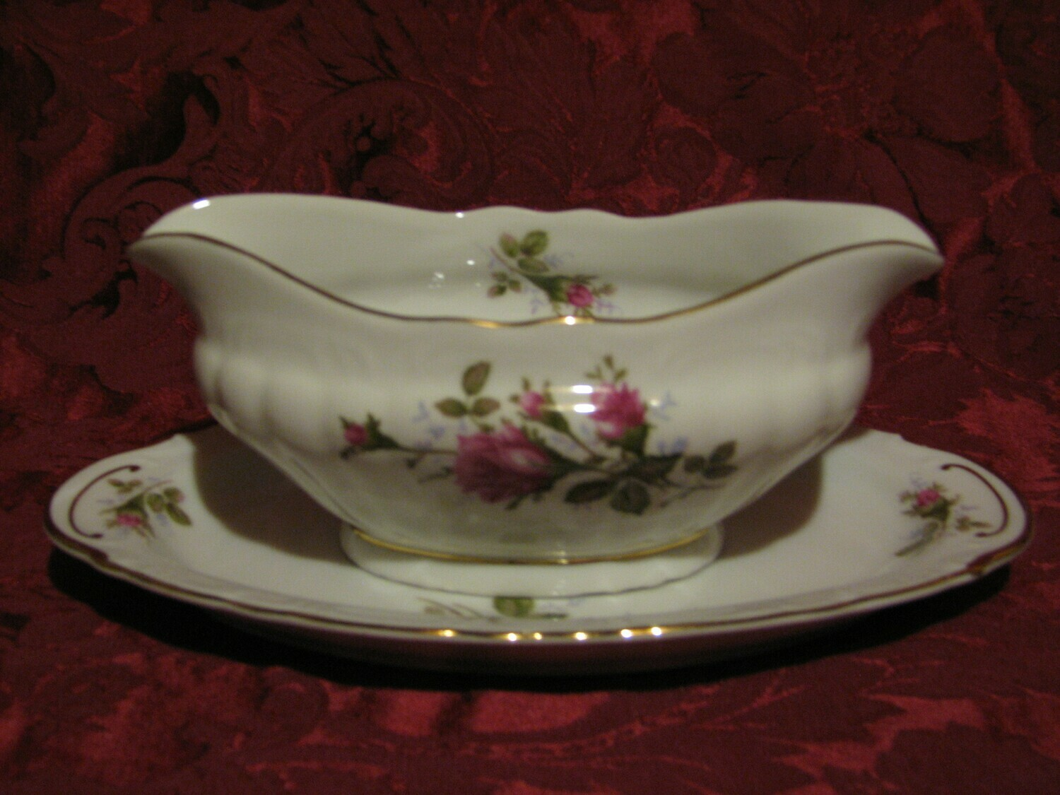 Fine China of Japan, Royal Rose, Gravy Boat W/Under Plate