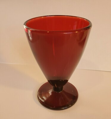 """Wine Glass, Royal Ruby Red, 3 3/8"""" Anchor Hocking"""
