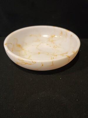 "Hazel Atlas Milk Glass, Spaghetti String Bowl, 6 1/8"""