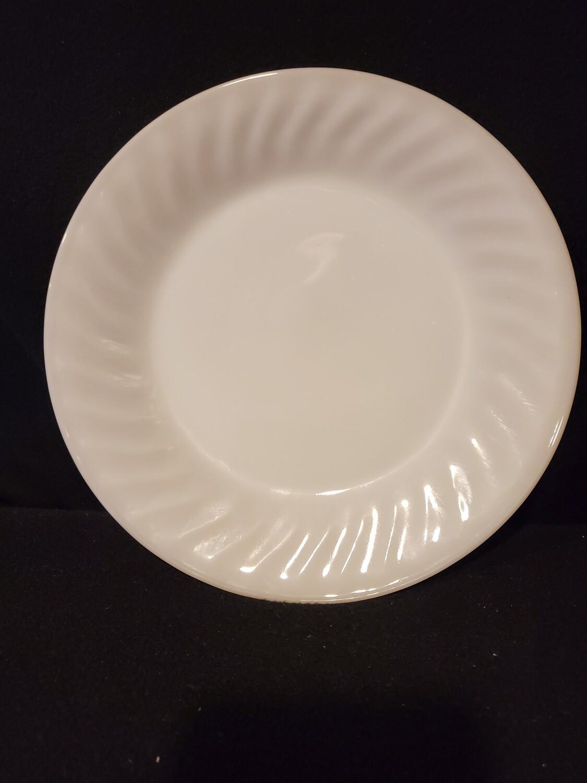 "Fire King, Dinner Plate Swirl, Anchor Hocking, White (Smooth Edge) 9 1/8"""