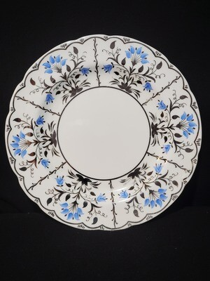 """Wedgwood Bone China, Dinner Plate 10 7/8"""", Papyrus Blue and Silver"""