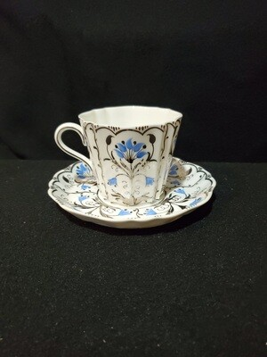 Wedgwood Bone China, Flat Demitasse Cup & Saucer Set, Papyrus Blue and Silver