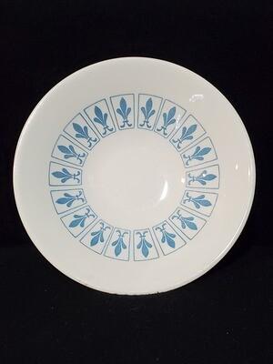 """Richelieu by Homer Laughlin, Fruit Bowl 5 1/2"""", Turquoise Blue, Fleur De Lis"""