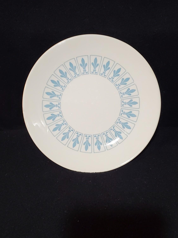 """Richelieu by Homer Laughlin, Salad Plate 7 1/4"""", Turquoise Blue, Fleur De Lis"""