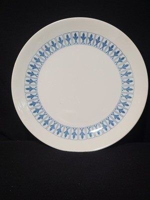 "Richelieu by Homer Laughlin, Dinner Plate 10 1/8"", Turquoise Blue, Fleur De Lis"