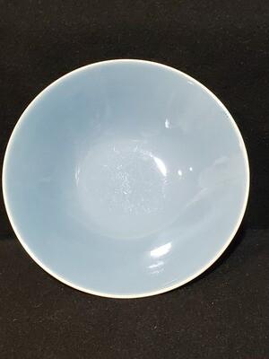 """Richelieu by Homer Laughlin, Cereal Bowl 6 1/4"""", Turquoise Blue, Fleur De Lis"""
