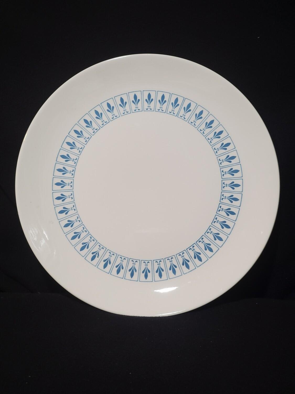 """Richelieu by Homer Laughlin, CHOP Plate 12 1/2"""", Turquoise Blue, Fleur De Lis"""