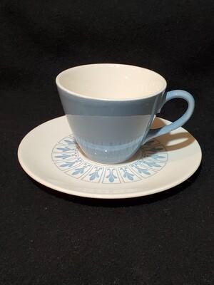 Richelieu by Homer Laughlin, Cup & Saucer Set, Turquoise Blue Cup with White/Blue saucer, Fleur De Lis Pattern.