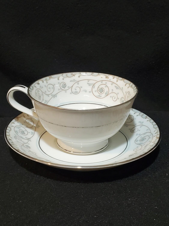 Noritake Bone China, Footed Cup & Saucer, Oxford #5767