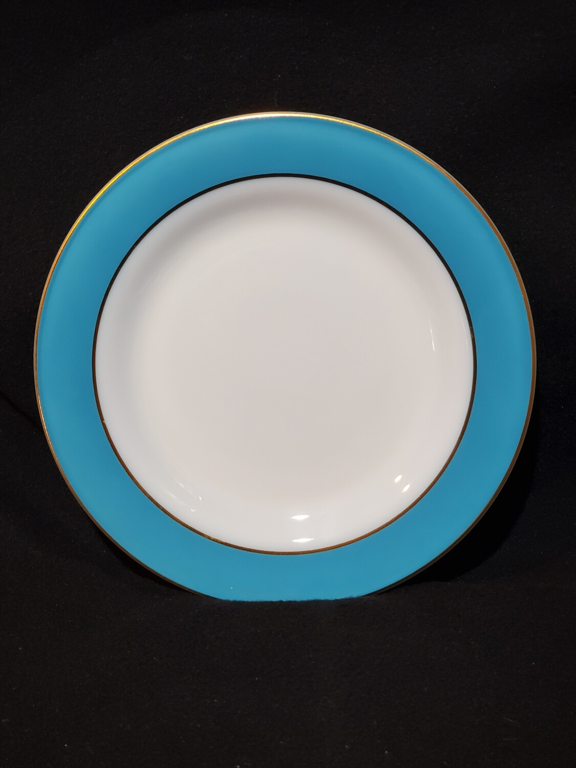 """Pyrex, Chop Plate 12.25"""", Milk Glass, Turquoise Banded"""