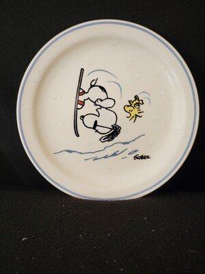Peanuts, Snoopy Winter Scene, Set of 4 Snack Plates, by Schultz, Hallmark