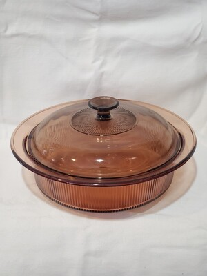 """Visions, Microwave Casserole 2.5Qt, 11 1/4"""" Round with Cover, Amber"""