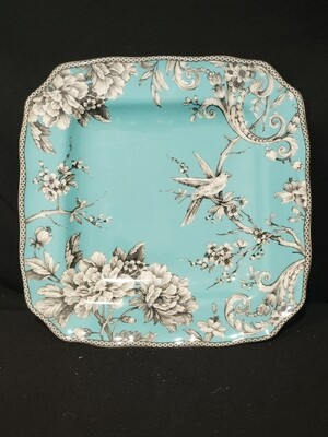 """Square Dinner Plate Adelaide Turquoise, 222 Fifth, 11"""""""