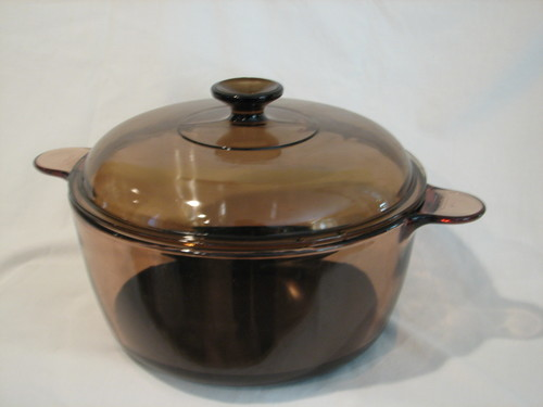 Corning Ware Visions Stock Pot/Dutch Oven 4.5L W/Lid & Teflon Bottom Amber