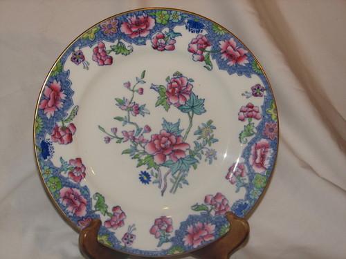 "Spode RARE 1900's Regal Copeland 10"" Dinner Plate Creamware Blue Pink Flowers"